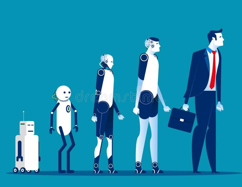 Androïde evolutie De vectorillustratie van de concepten cyborg technologie royalty-vrije illustratie