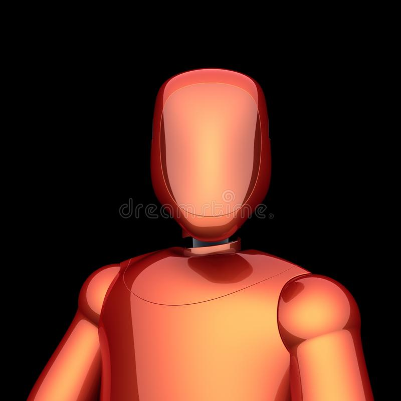 Androïde karakter van robot het rode oranje futuristische cyborg vector illustratie