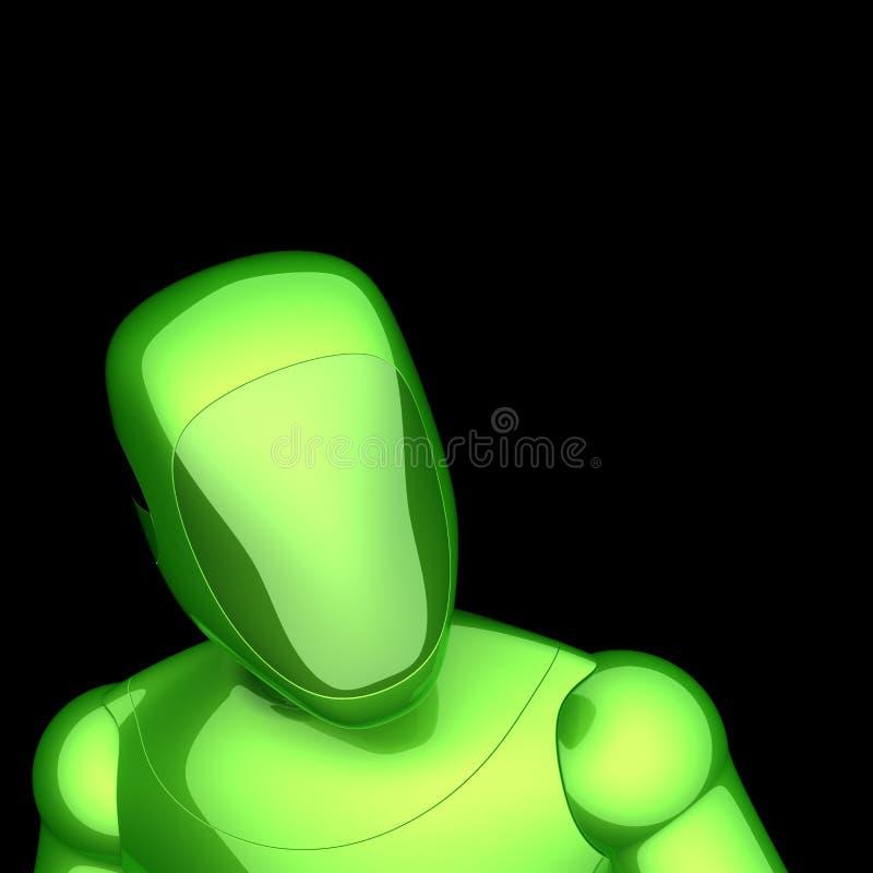 Androïde kunstmatige karakter van robot het futuristische groene cyborg royalty-vrije illustratie