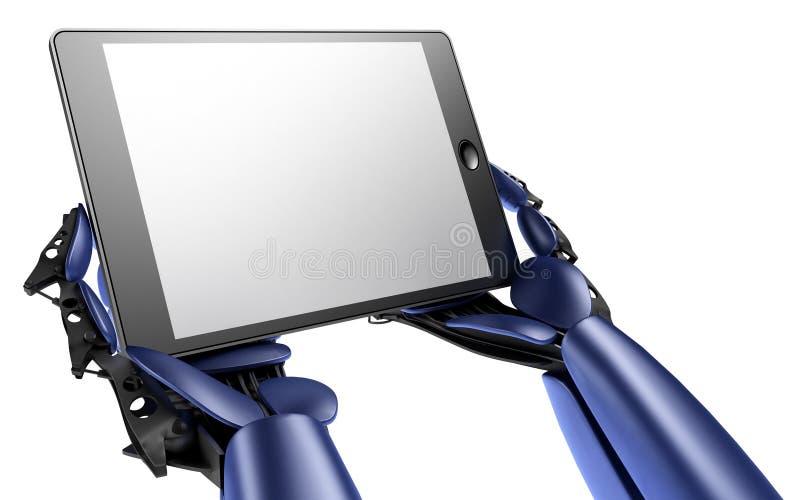 Androïde met tabletPC stock illustratie