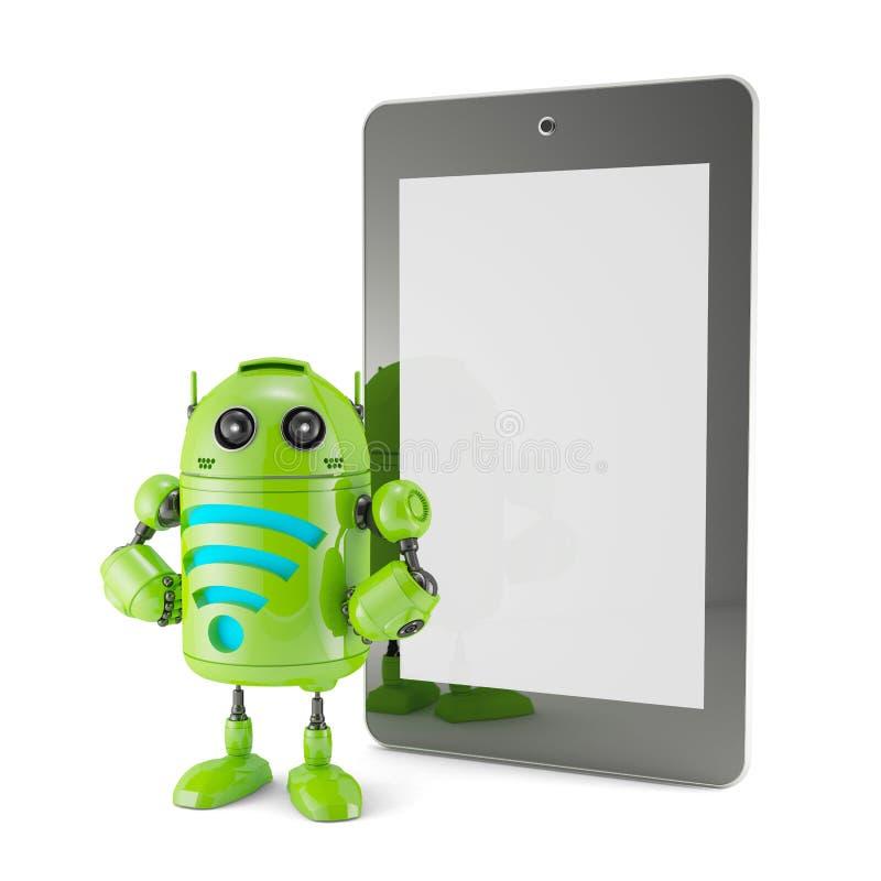Androïde met WiFi-symbool en lege het schermtablet. stock illustratie
