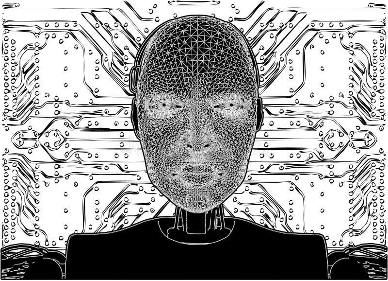 Androïde openbaart Interne Technologie stock illustratie