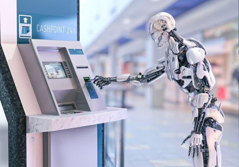 Androïde robot gebruikend een automatische tellermachine voor contant geldterugtrekking 3D Illustratie stock illustratie