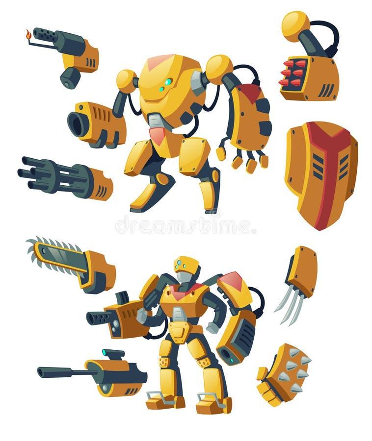 Androïdes de vecteur, robots, humanoïdes de cyborg illustration stock
