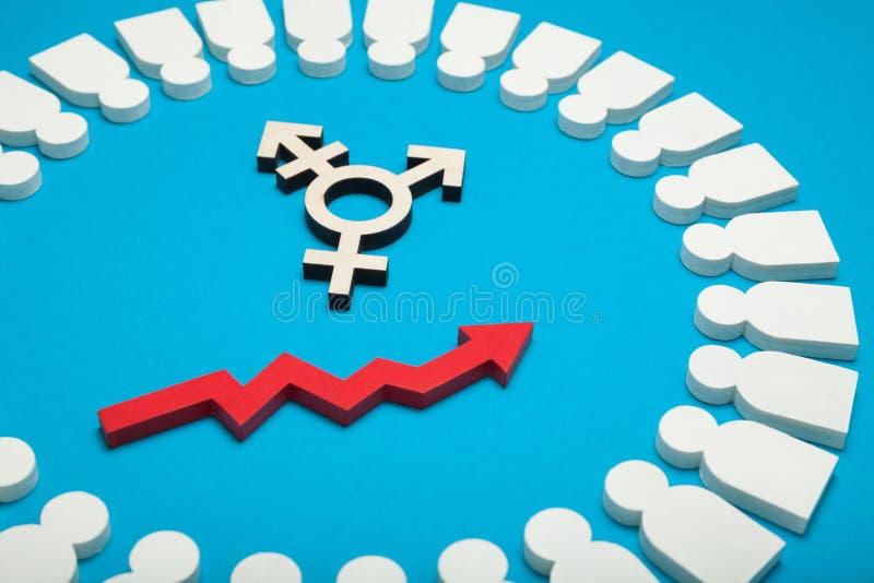 Androgeen en transsexueelonderscheid, biseksueel concept royalty-vrije stock foto's