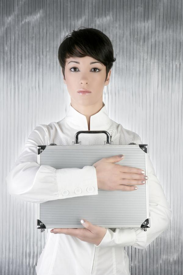 Download Androgynous Woman Holding Silver Briefcase Stock Image - Image: 14445771