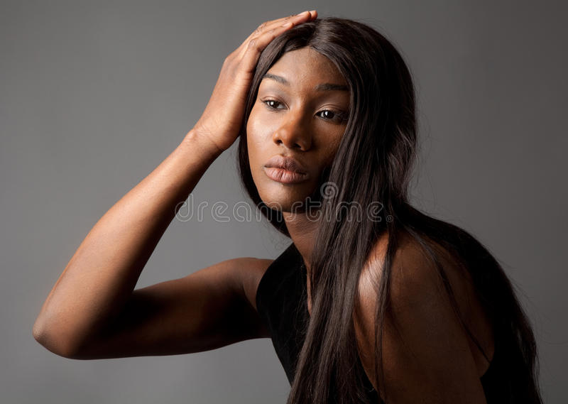 Androgynous Young Man With Long Hair stock photo