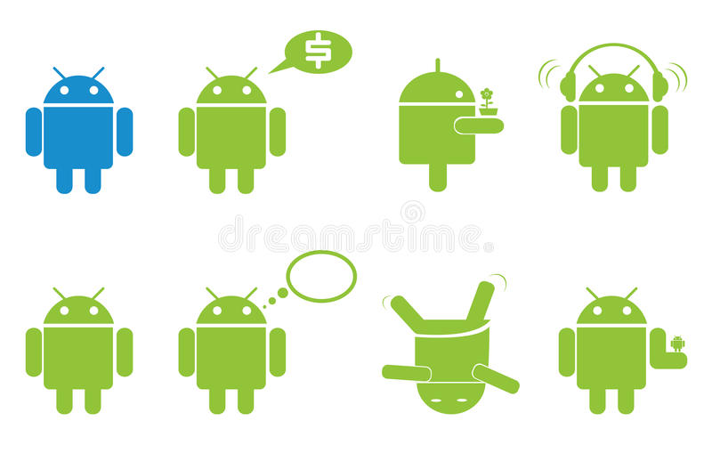 Android. Style icon set isolated in white