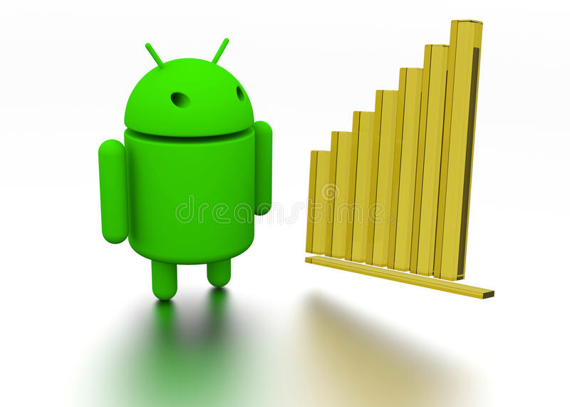 Android OS Operating System Robot 3d model and chart royalty free illustration