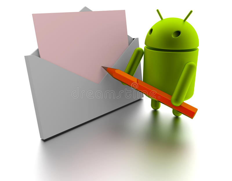 Android 3d model and Message stock illustration