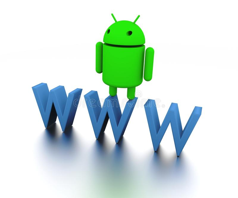 Android Operating System 3d model and WWW stock illustration
