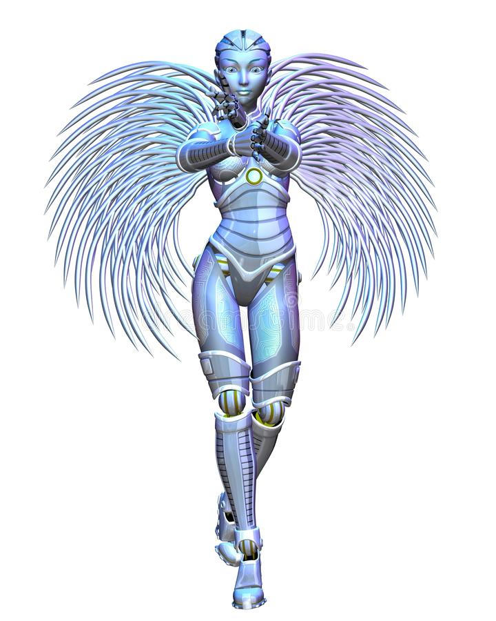 Android Angel - standing. Female android or robot angel with metallic silver wings standing with arms crossed, 3d digitally rendered illustration vector illustration