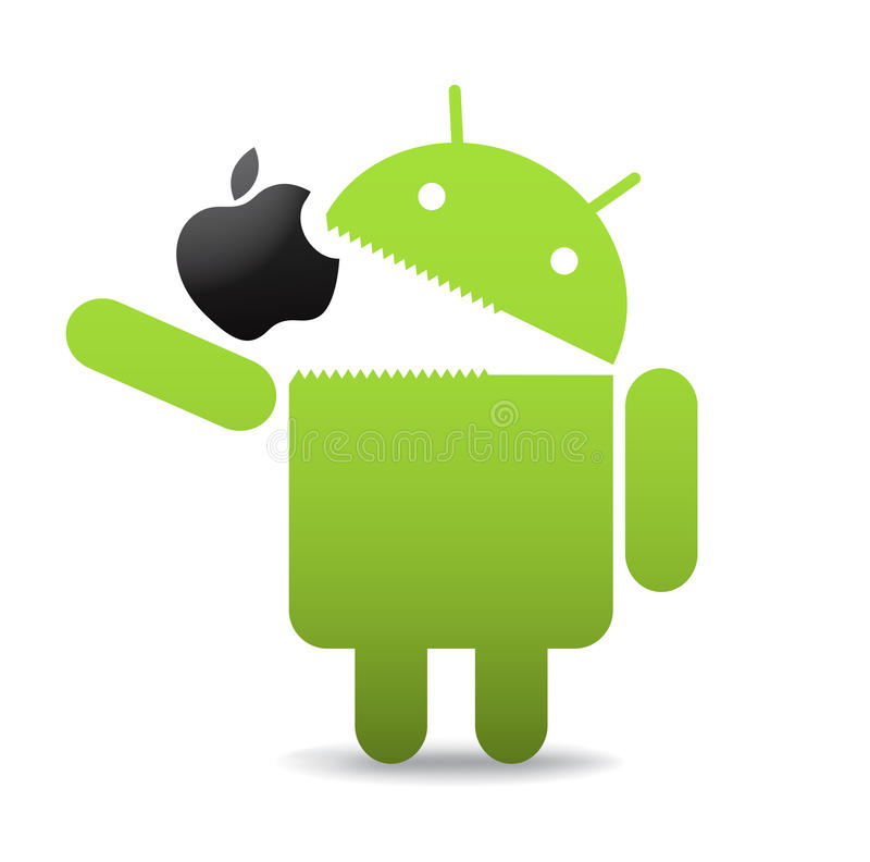 Android with apple. Green android caricature eating an apple. Android OS logo, vector illustration