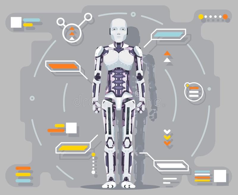 Android artificial intelligence robot futuristic information interface flat design vector illustration. Android artificial intelligence robot futuristic royalty free illustration