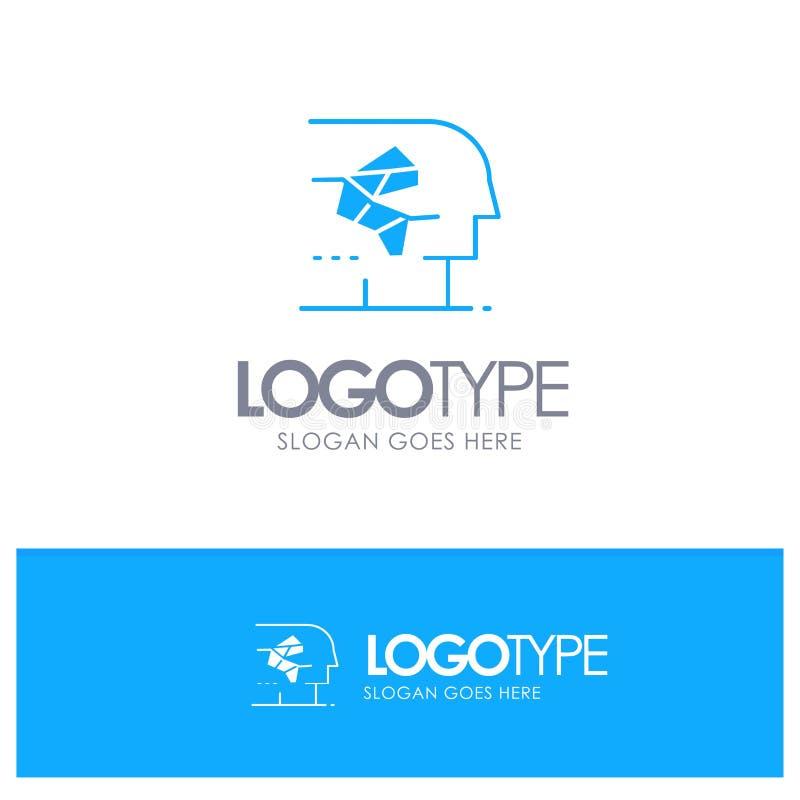 Android, artificiale, cervello, umano, logo solido blu dell'interfaccia con il posto per il tagline illustrazione vettoriale