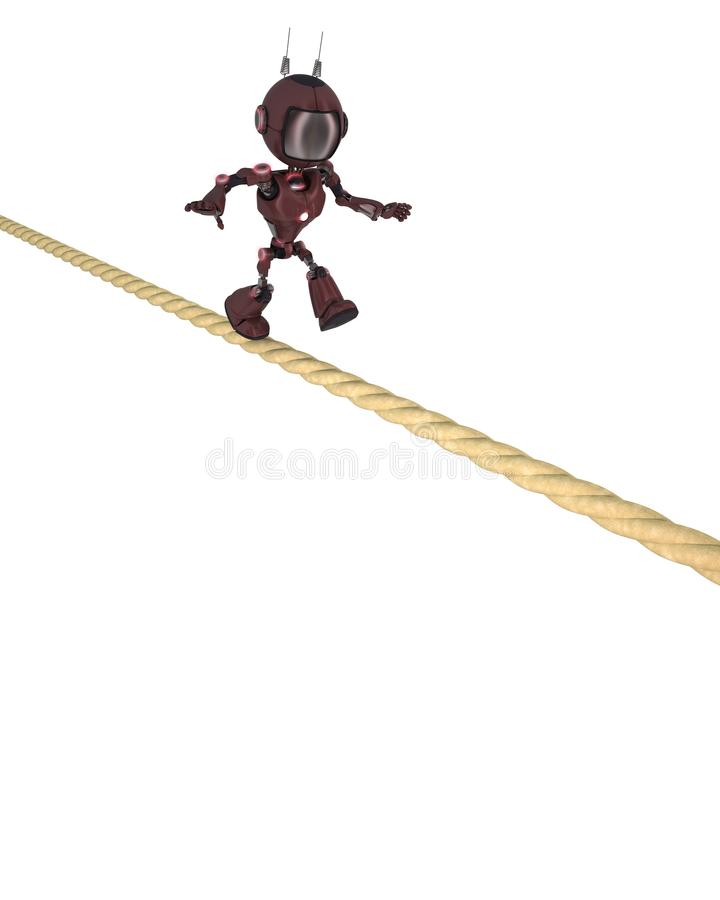 Android balancing on a tight rope stock illustration