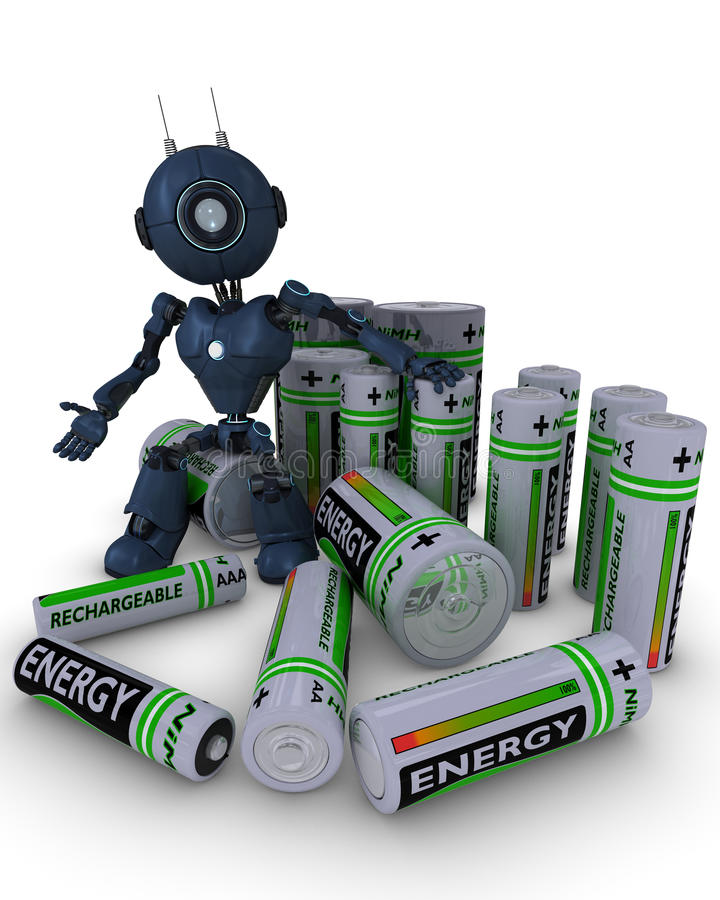 Android with batteries. 3D Render of an Android with batteries royalty free illustration