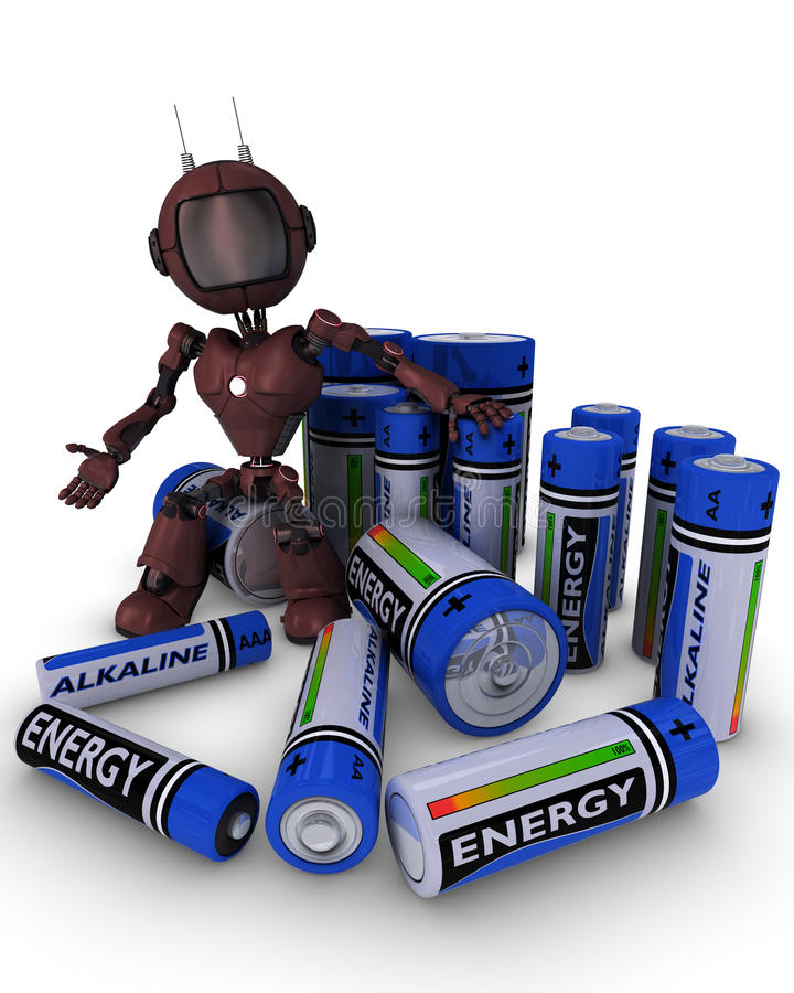 Android with batteries. 3D Render of an Android with batteries stock illustration