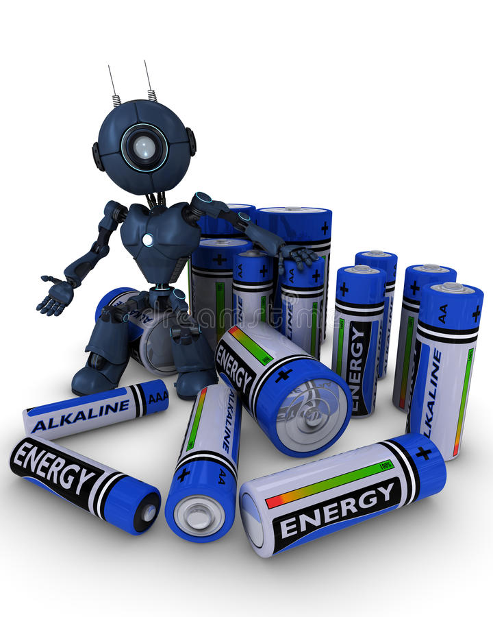 Android with batteries. 3D Render of an Android with batteries vector illustration