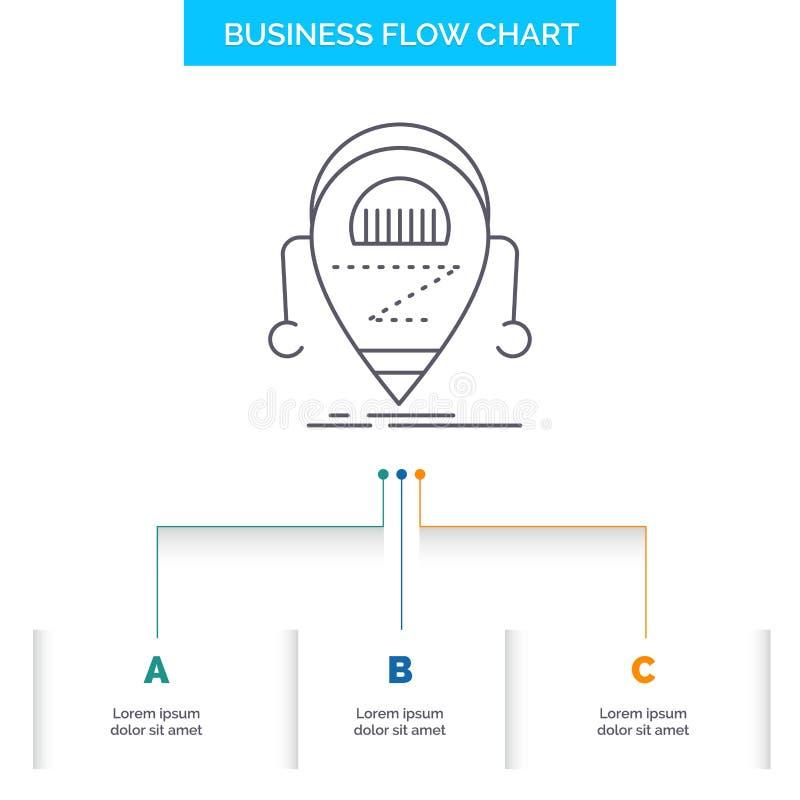 Android beta, droid, robot, design för diagram för teknologiaffärsflöde med 3 moment Linje symbol f?r presentationsbakgrundsmall royaltyfri illustrationer