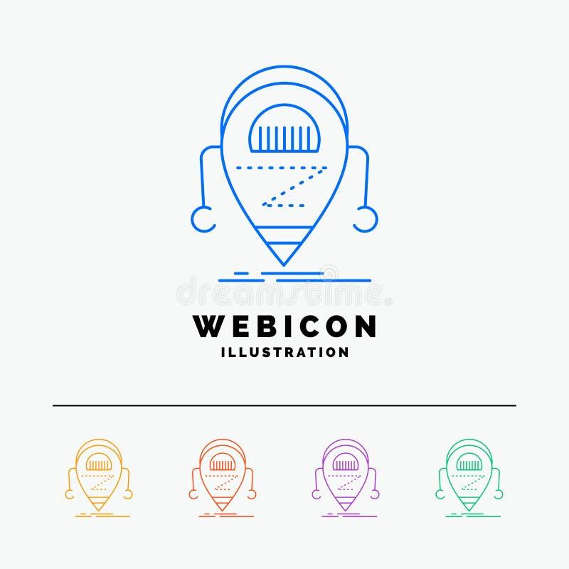 Android beta, droid, robot, färglinje rengöringsduksymbolsmall som för teknologi 5 isoleras på vit ocks? vektor f?r coreldrawillu royaltyfri illustrationer