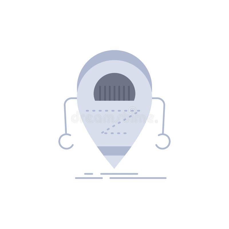 Android beta, droid, robot, för färgsymbol för teknologi plan vektor stock illustrationer