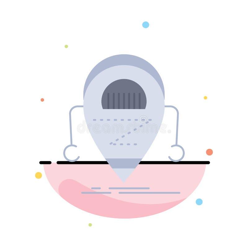 Android beta, droid, robot, för färgsymbol för teknologi plan vektor royaltyfri illustrationer
