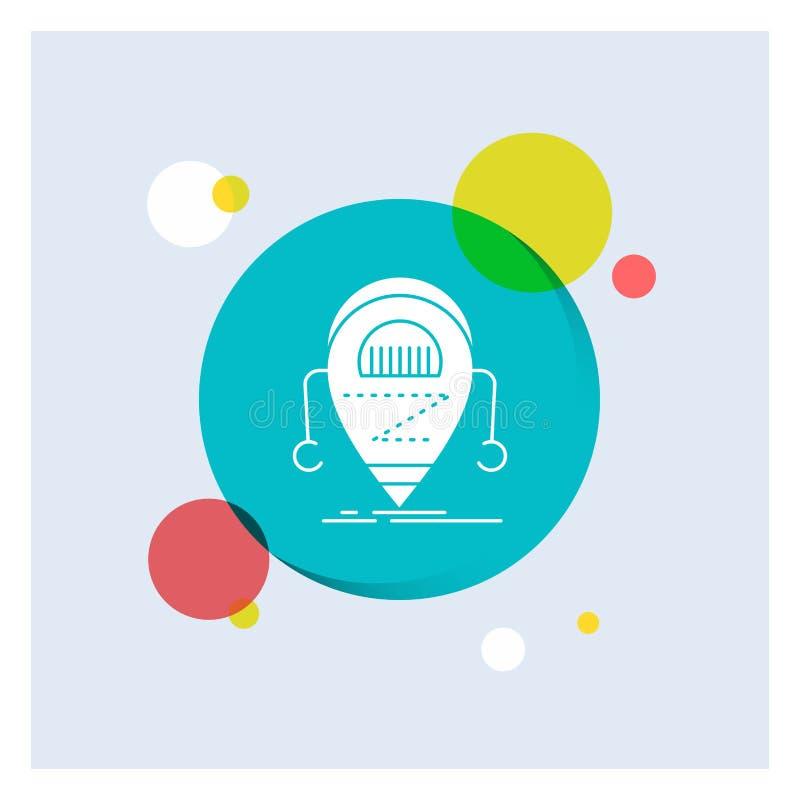 Android, beta, droid, robot, fondo colorido del círculo del icono blanco del Glyph de la tecnología libre illustration