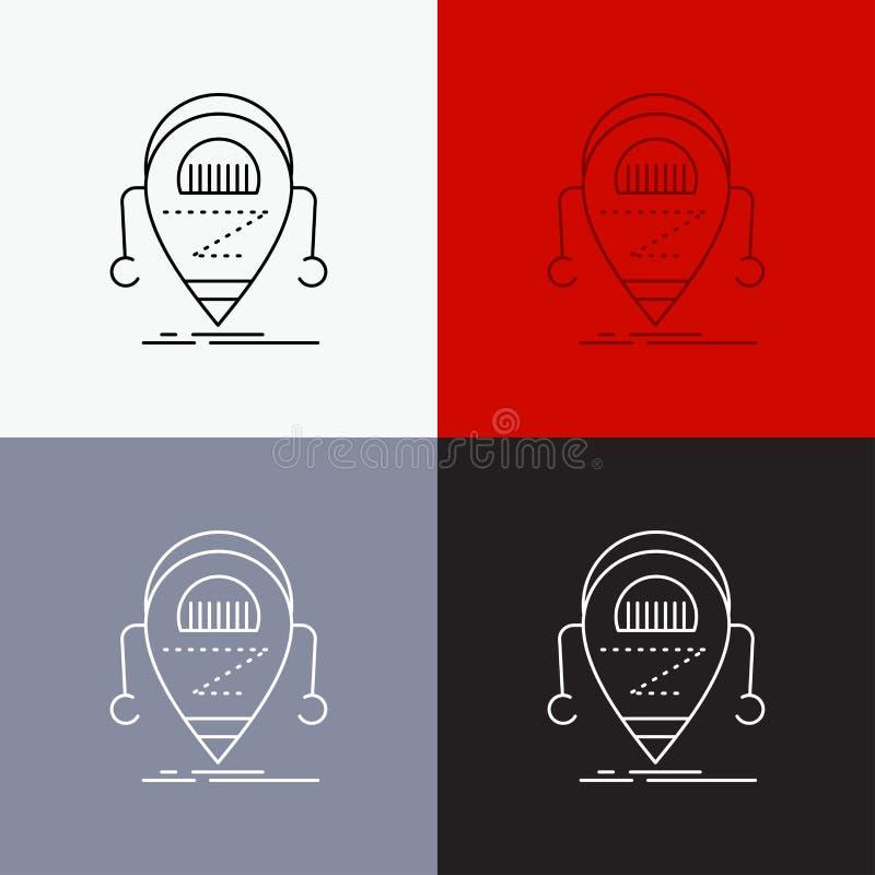 Android, beta, droid, robot, icono de la tecnología sobre diverso fondo L?nea dise?o del estilo, dise?ado para la web y el app Ve stock de ilustración
