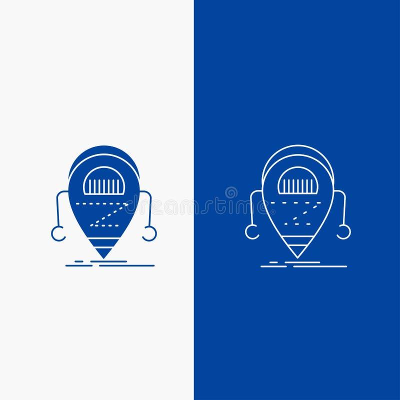 Android, beta, droid, robot, knapp för teknologilinje- och skårarengöringsduk i det vertikala banret för blå färg för UI och UX,  stock illustrationer