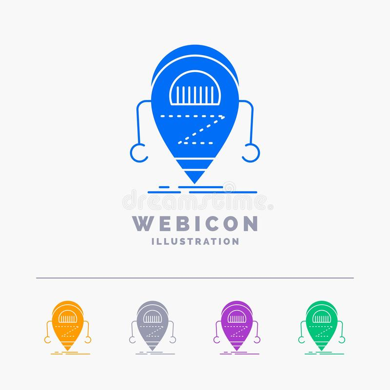 Android, beta, droid, robot, plantilla del icono de la web del Glyph del color de la tecnología 5 aislada en blanco Ilustraci?n d stock de ilustración