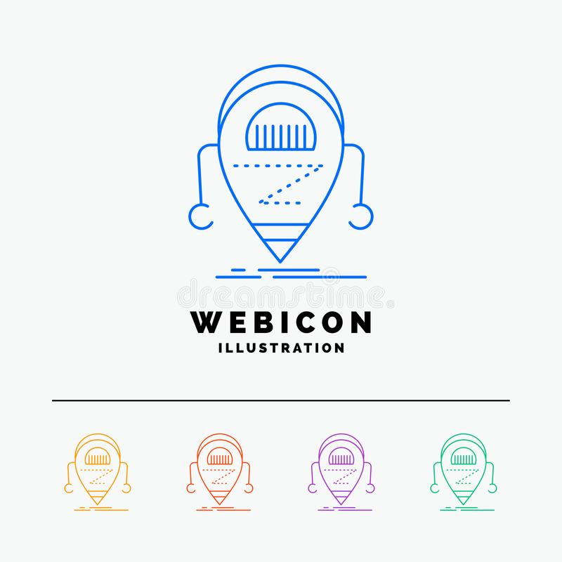 Android, beta, droid, robot, Technology 5 Color Line Web Icon Template isolated on white. Vector illustration royalty free illustration
