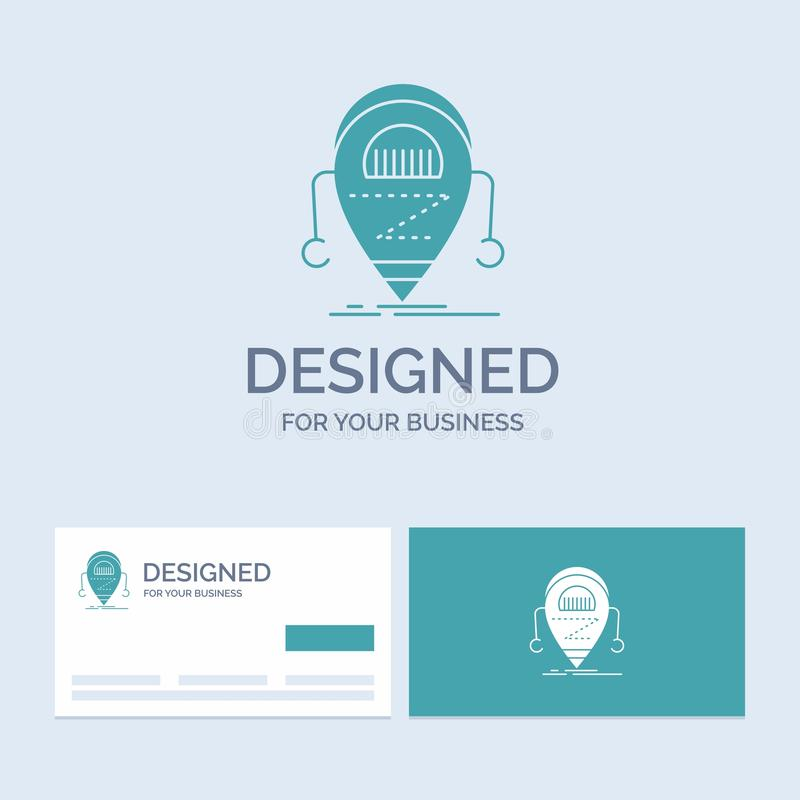 Android beta, droid, robot, teknologiaffär Logo Glyph Icon Symbol för din affär Turkosaff?rskort med m?rke vektor illustrationer