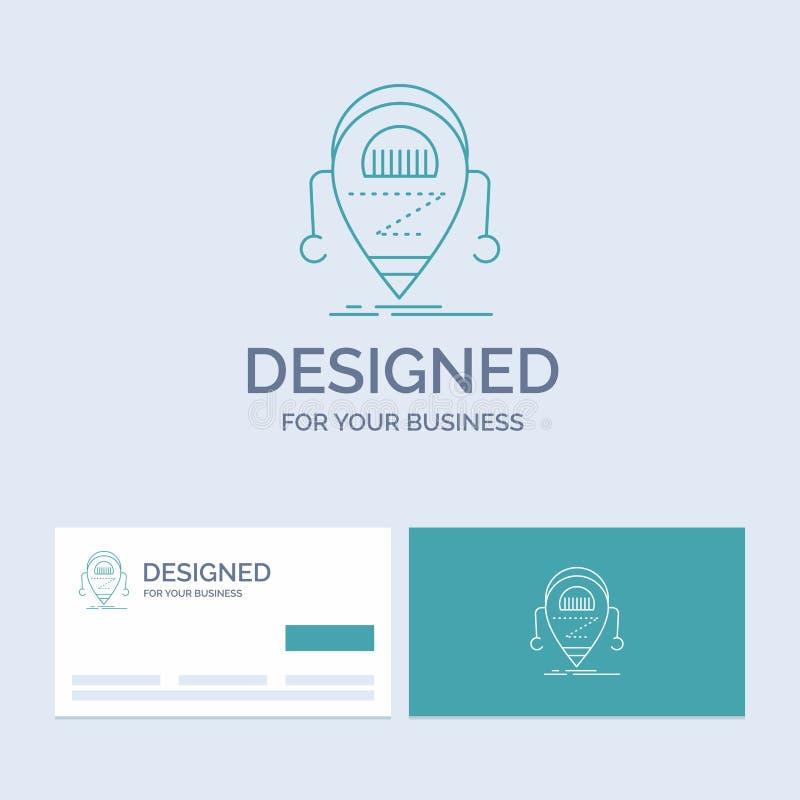 Android beta, droid, robot, teknologiaffär Logo Line Icon Symbol för din affär Turkosaff?rskort med m?rkeslogo royaltyfri illustrationer