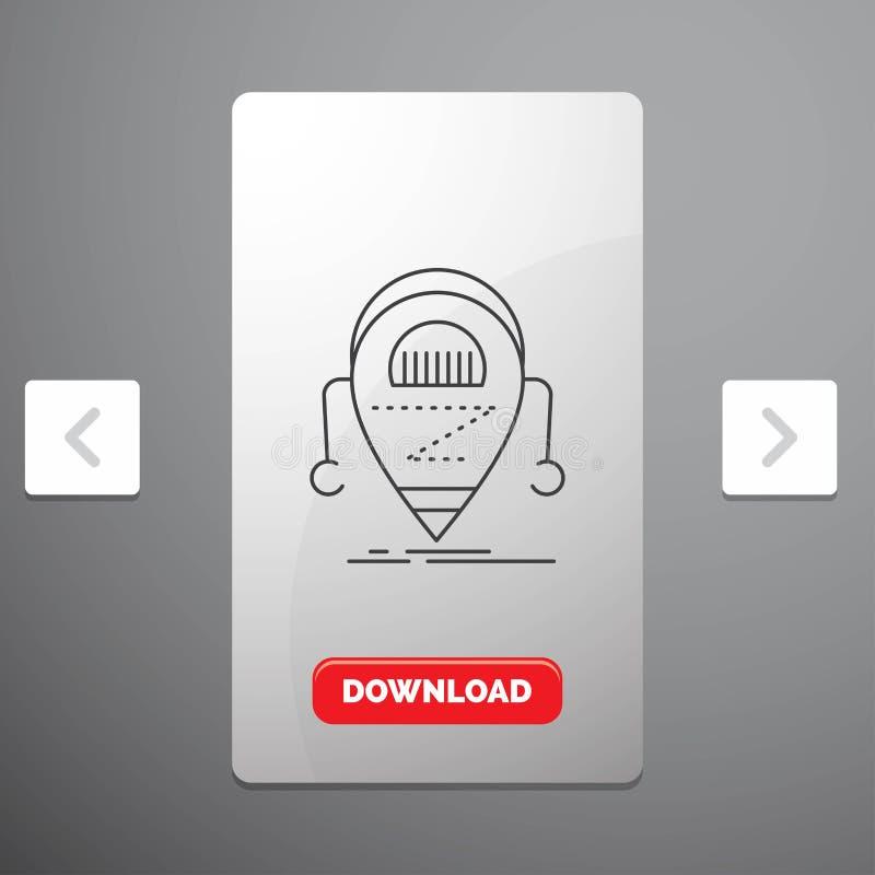 Android, beta, droid, robot, teknologilinje symbol i design för Carousalpagineringsglidare & röd nedladdningknapp royaltyfri illustrationer