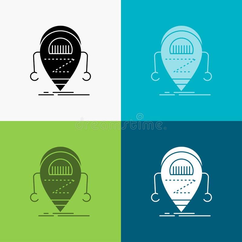 Android beta, droid, robot, teknologisymbol ?ver olik bakgrund sk?rastildesign som planl?ggs f?r reng?ringsduk och app Vektor f?r stock illustrationer