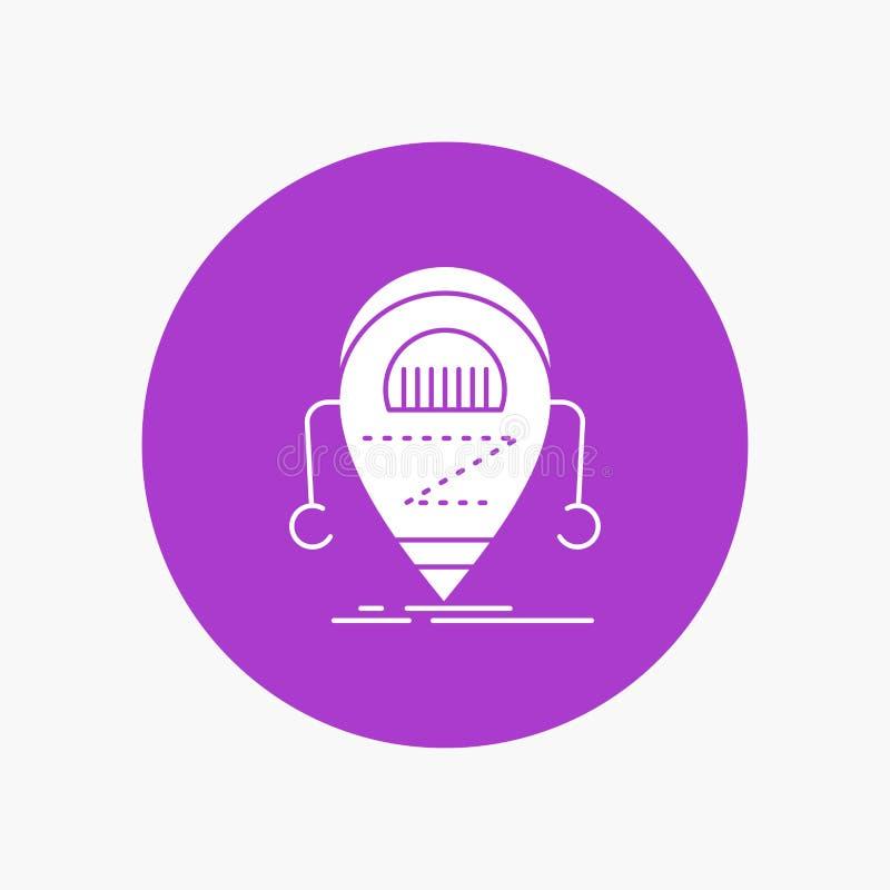 Android beta, droid, robot, vit skårasymbol för teknologi i cirkel Vektorknappillustration stock illustrationer