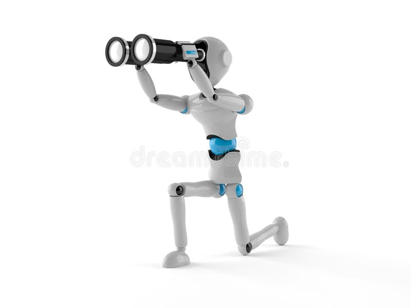Android with binoculars. Isolated on white background vector illustration