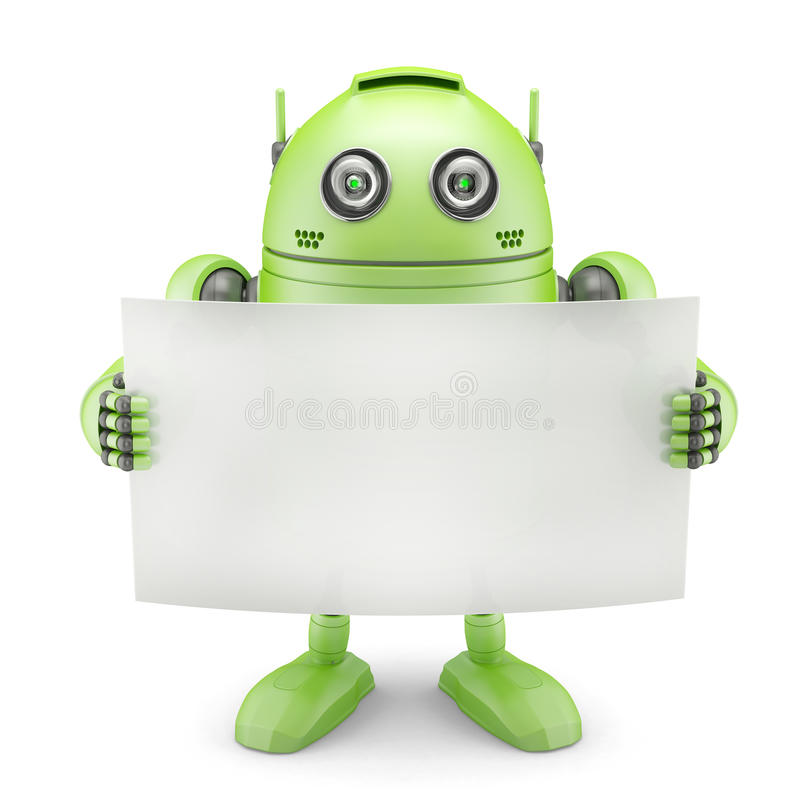 Android with blank banner. Isolated on white background royalty free illustration