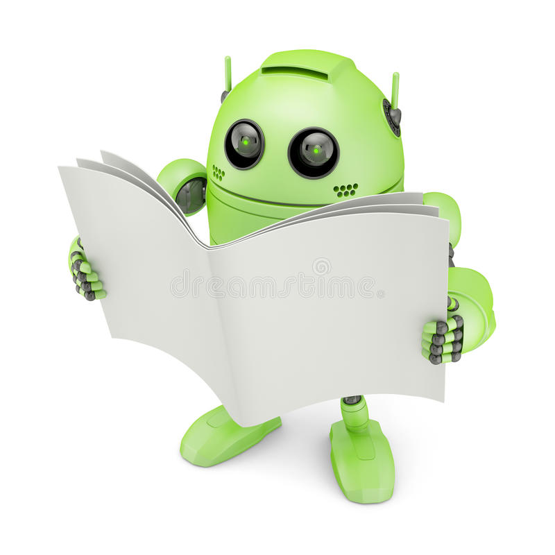 Android with blank book. Isolated on white vector illustration