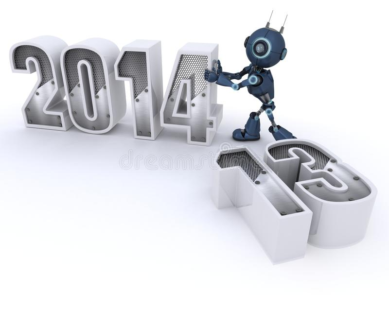 Download Android Bringing In The New Year Stock Illustration - Illustration of 2013, 2014: 33981861