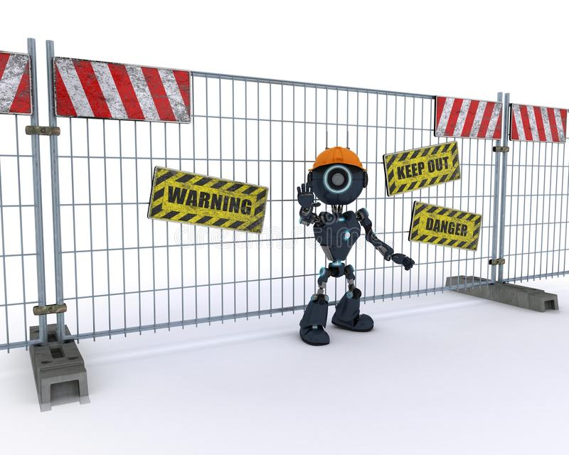 Android builder at construction site. 3D Render of an Android builder at costruction site royalty free illustration