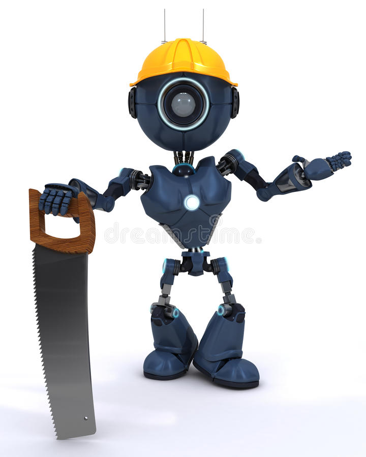 Android builder with a saw stock illustration