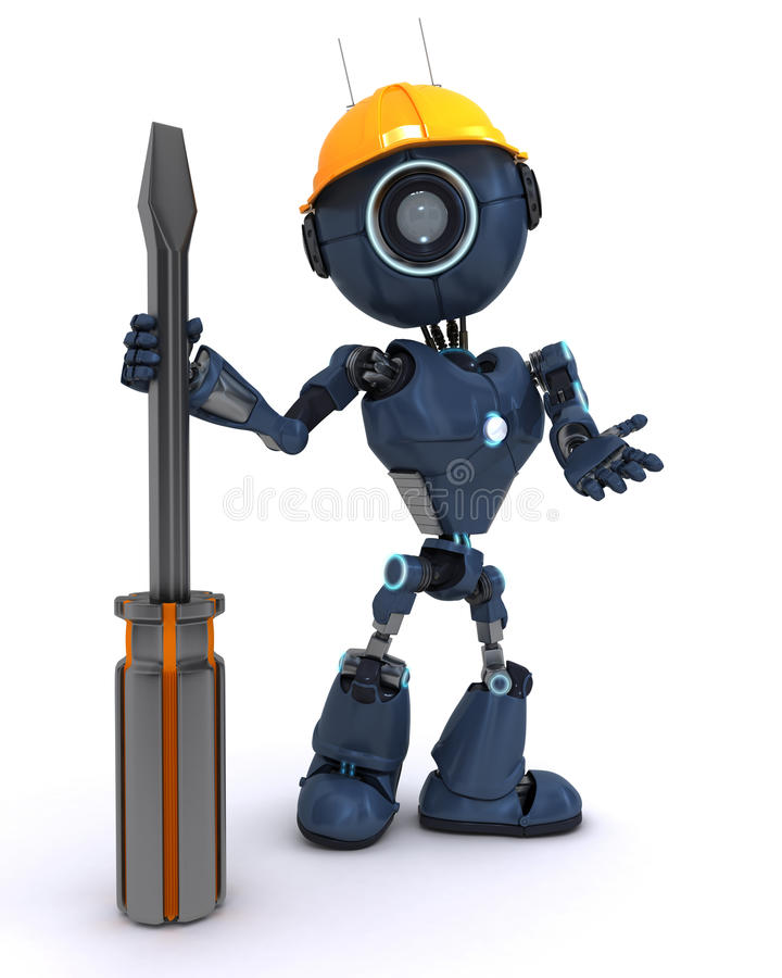 Android builder with a screwdriver. 3D Render of an android Builder with a screwdriver stock illustration