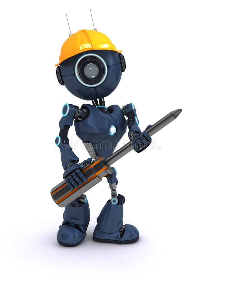 Android builder with a screwdriver. 3D Render of an android Builder with a screwdriver vector illustration