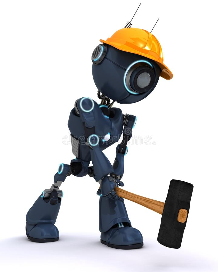 Android builder with a sledgehammer. 3D Render of an android Builder with a sledgehammer vector illustration