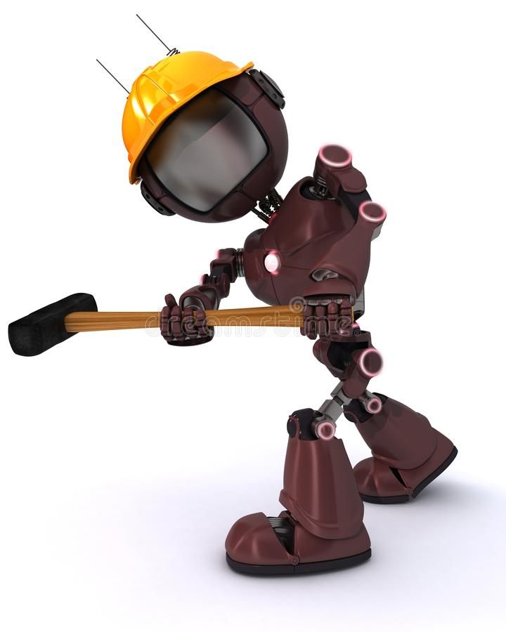 Android builder with a sledgehammer. 3D Render of an android Builder with a sledgehammer stock illustration