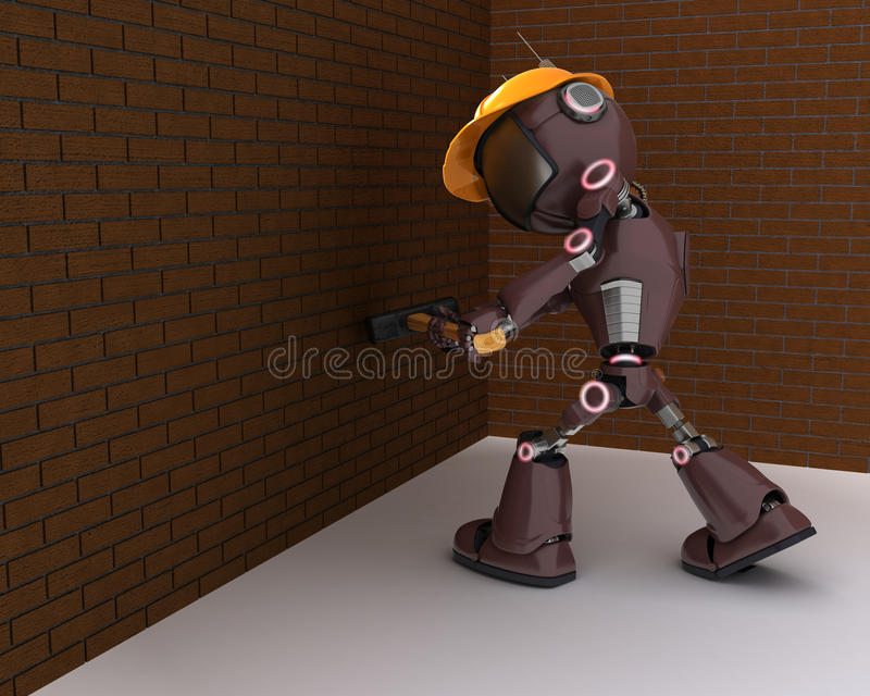 Android builder with a sledgehammer. 3D Render of a android Builder with a sledgehammer vector illustration