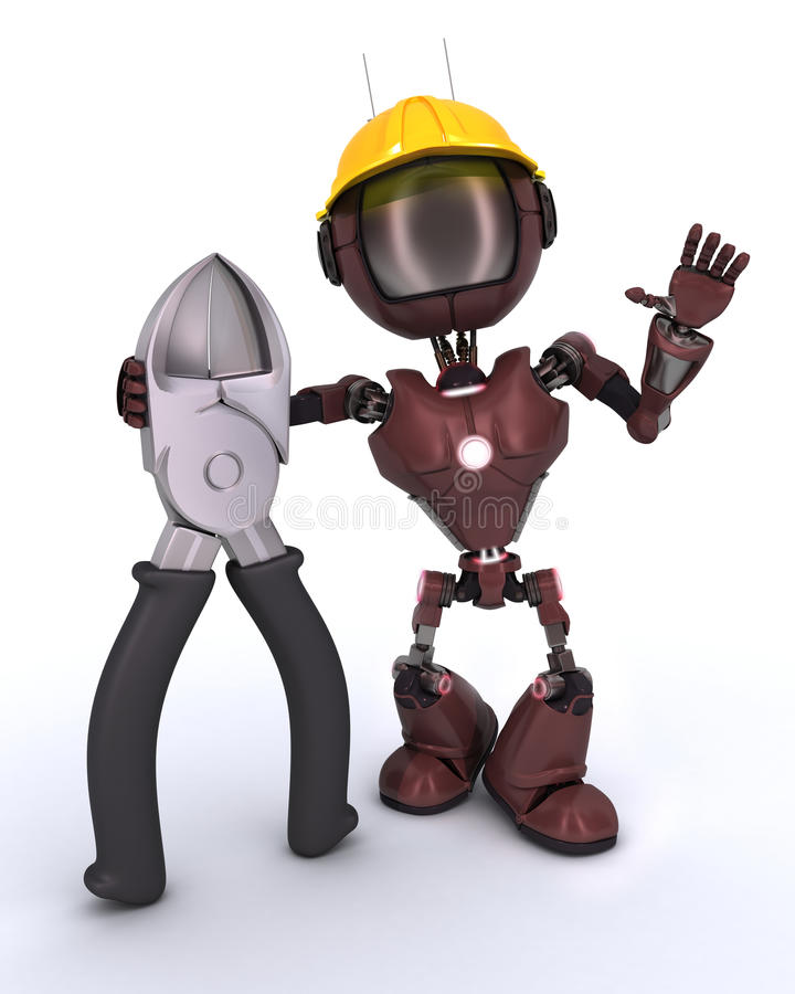 Android builder with wire cutters. 3D Render of an android Builder with wire cutters vector illustration