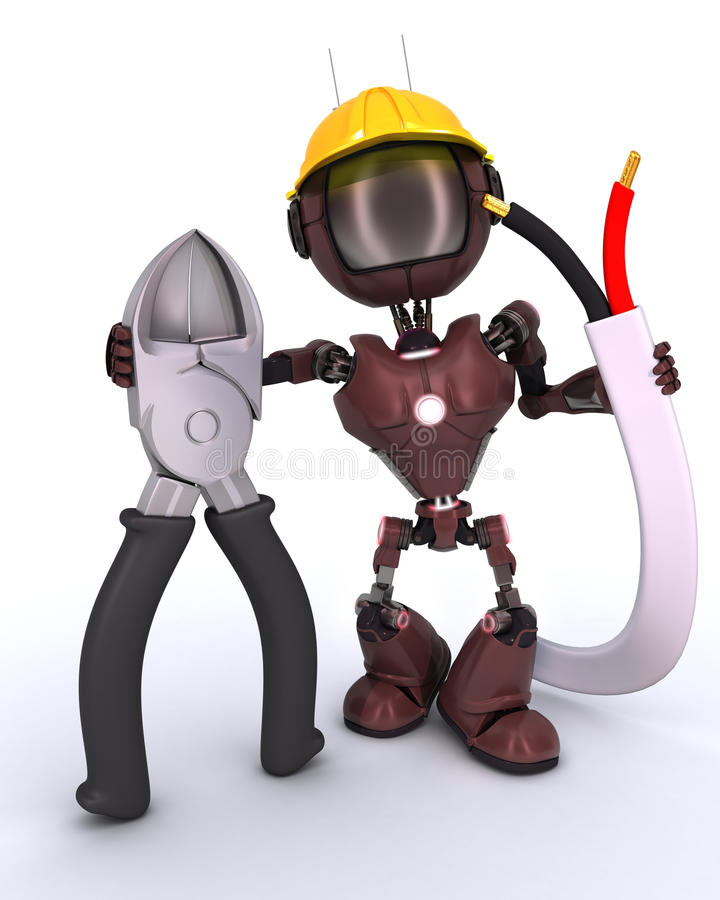 Android builder with wire cutters. 3D Render of an android Builder with wire cutters royalty free illustration
